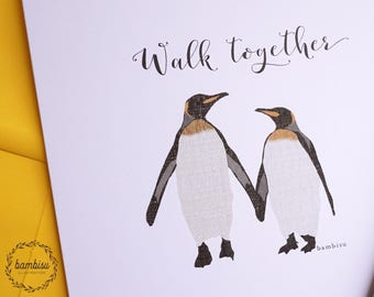 Greeting Card - Penguin Card - Friendship Card - Love Card