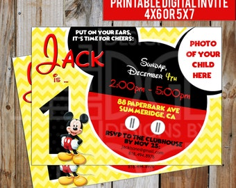Mickey Mouse Birthday Invitation - Digital File