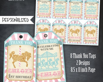 Carousel Thank You Tags, Carousel Tags, Carousel Birthday Favors, Carousel Party, Carousel Birthday Party, Personalized, Printables