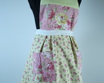 Handmade Vintage Inspired Apron Fully Lined (reversible) with Pockets - Yellow/Pink Floral