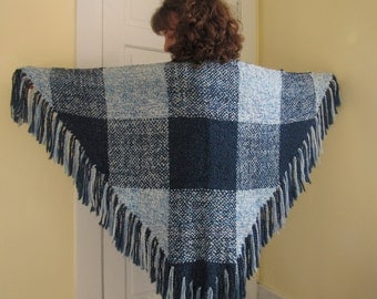 Handwoven Blue Plaid Triangle Shawl
