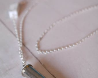 Howlite Gemstone and Silver Bullet Pendant Necklace
