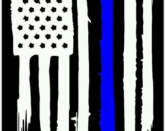 American flag thin blue line police officer leo vinyl die cut sticker decal