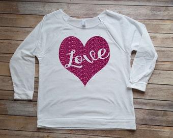 Glitter Love Heart - Valentine Shirt - Gift for her - Sparkly Valentine Shirt