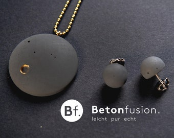 SET concrete chain 'BRILLER' + ear studs, concrete jewelry, brass, gold, gift,.