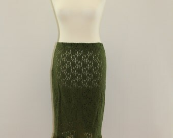 Floral Mesh Skirt With Baubles (Dark Olive)
