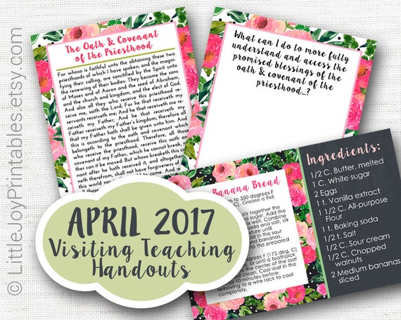 April 2017 VT Message - Oath & Covenant of the Priesthood - Quote Handout, Note Card, Recipe, LDS, Mormon, VT Message, Digital, Printable