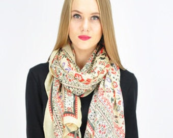Floral Beige Scarf / Spring Summer Scarf / Autumn Scarf / Womens Scarves / Ladies Scarf / Gift for her / Fashion Accessories / Handmade
