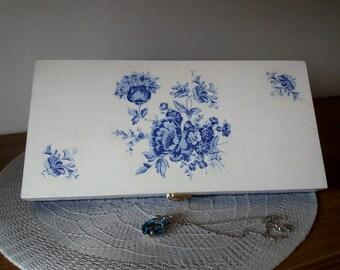 Cool Blue, wooden box, Decoupage, Jewelry box