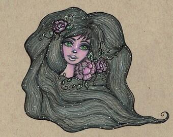 Peony Girl Postcard Print
