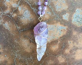 Handmade Raw Amethyst Pendant Necklace