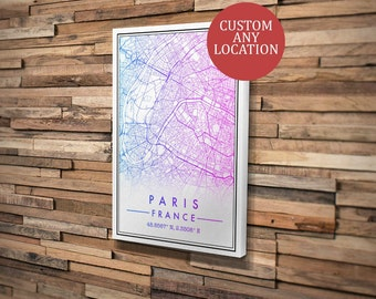 Custom Map Art Mounted Canvas. Any Location. Personalised Map Print. Modern Design. Personalised Print