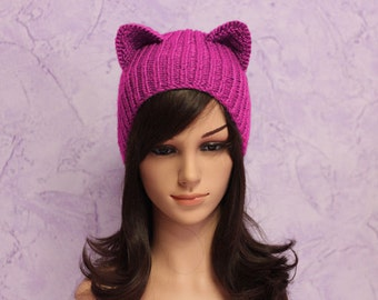 WOMENS MARCH, Pink Pussyhat, Pink Pussycat hat, Pussycat hat, Pussyhat Project, Holiday Fashion, Winter Hat