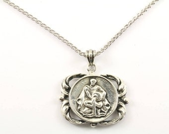 Vintage Aquarius Zodiac Sign Astrology Necklace 925 Sterling Silver NC 125-E