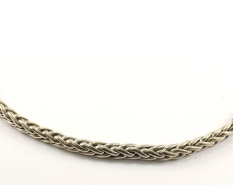 Vintage Wheat Design Hook Lock Chain Necklace 925 Sterling Silver NC 763-E