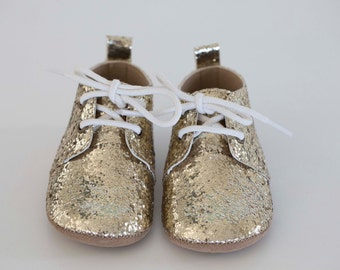 maisie oxford - gold glitter (soft sole baby shoes)