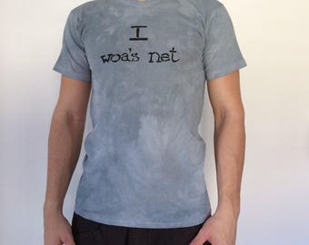 Handmade T-Shirt for men - I woa's net - soft cotton, in elegant grey and black