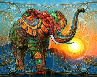 Elephant Cross Stitch Pattern-African Elephant Pattern Multi-colored-Printable Elephant-Digital Prints-Elephant Art Decor Pattern-PDF File