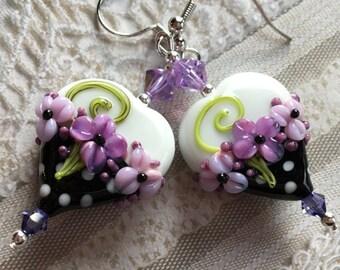 Heart Lampwork Earrings, White/Black & White Polka Dot Earrings, Lampwork Jewelry, SRA Lampwork Jewelry, Mothers Day, Gift For Her