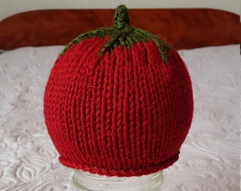 Handmade Knit Strawberry Baby Hat/Knit Strawberry Baby Beanie/Knit Strawberry Baby Toque/Red and Green Knit Baby Hat/Baby Shower Gift