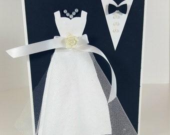 Wedding Card - Bride and Groom Wedding Card - Black and White Wedding Card