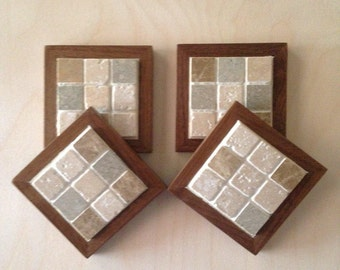 Mosaic Tile Drink Coasters with Walnut Base