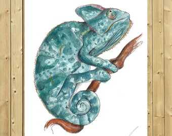 Chameleon, illustration in watercolor, blade A5, A4 or A3, chamäleon art, wall decor