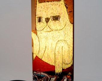 "Cat, Lamp, Mural, Building, City of Montreal, Green Yellow, Print, Metal, ""Cat from beyond"""