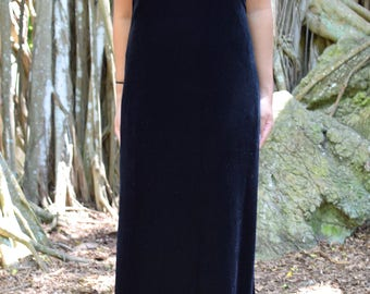 Vintage Black Velvet Floor Length Dress
