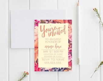 Custom Floral Invite || Digital Download