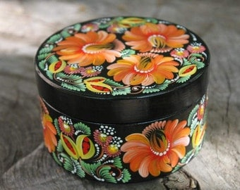 Wooden box  jewelry box natural wood  black color  box with orange flowers  gift for her  round box