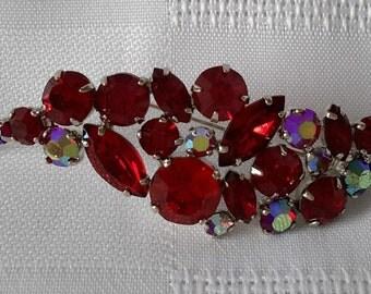 Leaf Shape Brooch Ruby Red Rhinestones, Rhodium, c.1950.