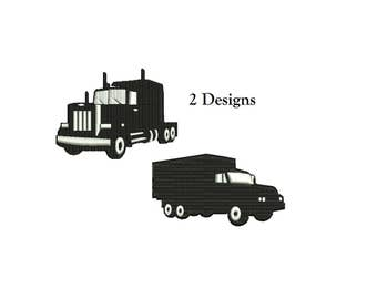 Truck Embroidery Design - 2 designs 3 sizes instant download