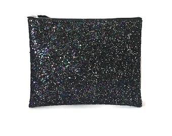 Petrol black large glitter clutch bag