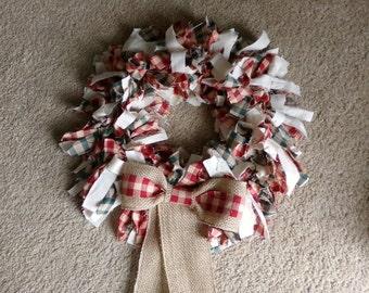 Primitive Rag Wreath, Primitive Wreath, Rag Wreath