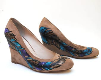 Feather Hand Painted Upcycled Women's Suede Leather Wedge Shoes