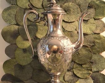 Lovely silver plate teapot or coffee server. Ornate detailing. Elegant lines. Vintage 1930-40's