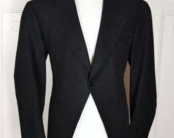 Morning Coat, Black Wool Dutch Vintage Morning Jacket, Formal Tailcoat, 1970s European Cutaway Coat, Steampunk Coat Jacket: Size 42 (US/UK)