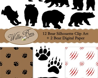 Bear Silhouette Clip Art - PNG - 12x12 Digital Paper - JPG Paper Files - Grizzly Bears - Black Bears - Bear Paw - Instant Download