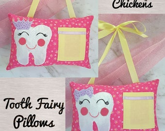 Tooth Fairy Pillow Girl Pink Yellow Mauve Applique - Crown or Bow