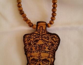 Skull crown necklace, Wood skull necklace , Skull crown, skull bead