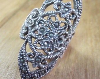 Sterling Silver Marcasite Ring Large Statement Ring Size 6 1/2