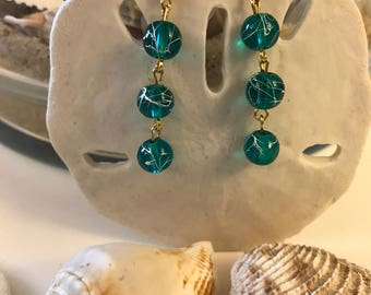 3-Teal Bead Earrings