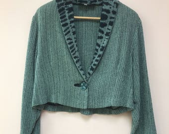 Judith Bird hand woven shibori-dyed green black raw silk wearable art JACKET
