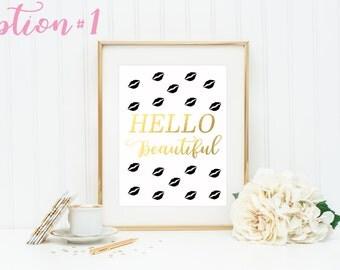 Hello Beautiful Sign / Gold Nursery Decor / Gold Foil Print / Lips Print / Dorm Room Decor / Lips Wall Art / Kiss Print / Gold Office Decor
