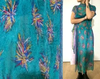 Felted dress , Nuno felt dress, Colorful dress, Wearable Art, Felted clothing, Designer dress, Hand made