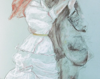 Original pastel drawing with pencil and sanguine, according to A. Renoir, on blue paper A2