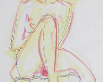 Original nude female nude, sketch of pastels and graphite, nude in the Studio, white paper A2