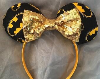 Batman Mickey or Minnie Ears! Handmade Sewn & Stuffed- Fits Child to Adult