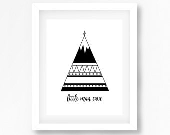Little boy nursery print, black and white nursery, monochrome nursery, baby boy nursery, little man cave, boy nursery decor, tribal nursery